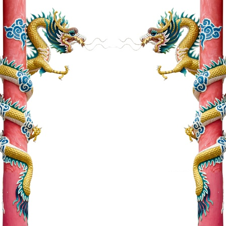Photo pour Twin Golden Chinese Dragon Wrapped around red pole on White background - image libre de droit
