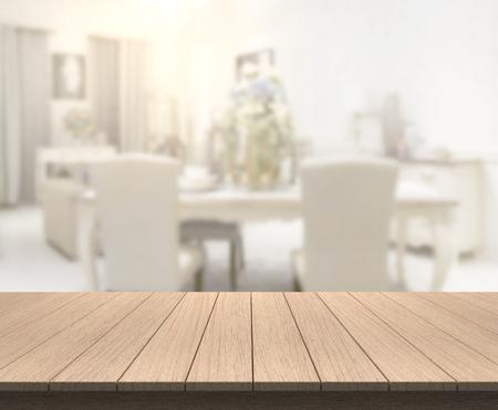 Foto de Table Top And Blur Dining Room Of The Background - Imagen libre de derechos