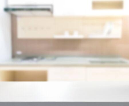 Photo pour Table Top And Blur Kitchen Room Of  Background - image libre de droit