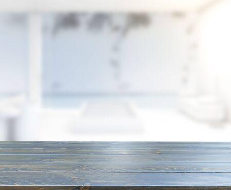 Photo pour Table Top And Blur Bathroom Of The Background - image libre de droit