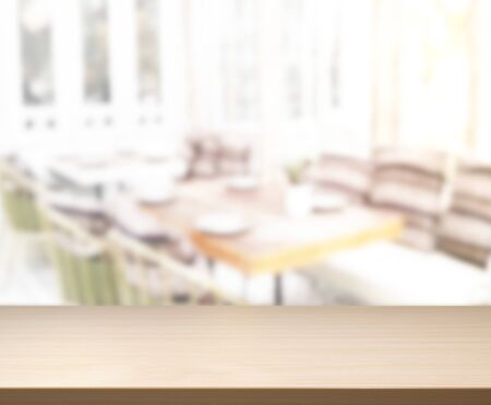 Photo pour Table Top And Blur Dining Room Of The  Background - image libre de droit