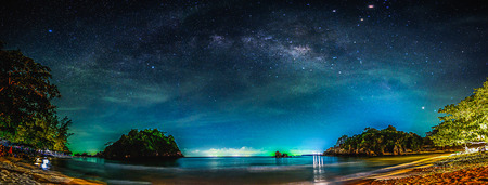 Landscape with Milky way galaxy. Night sky with stars and sea.の素材 [FY31069715685]