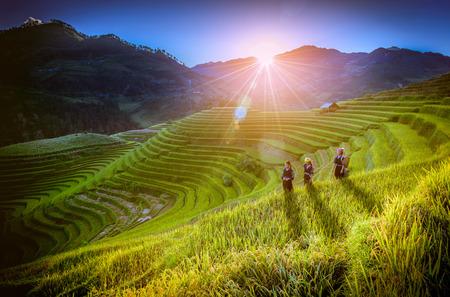 MU CANG CHAI, VIETNAM, September 19 , 2017:  Vietnamese children walking home on harvest rice field at sunset in Mu Cang Chai, Yenbai, northwestern Vietnam.