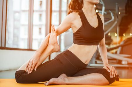 Foto für Young woman meditates while practicing yoga. Freedom concept. Calmness and relax, woman happiness. Toned picture - Lizenzfreies Bild