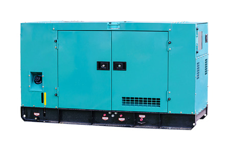 Industrial diesel power generator on white background.