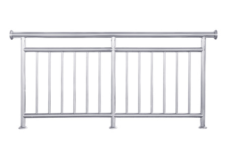 Photo for Stainless steel railing isolated on white, with clipping path. - Royalty Free Image