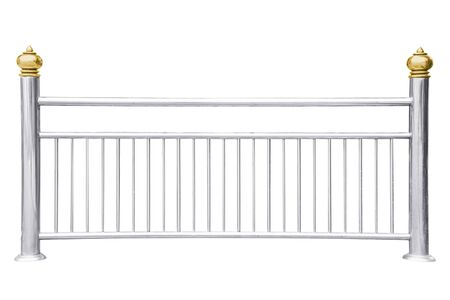 Photo pour Stainless steel railing isolated on white - image libre de droit
