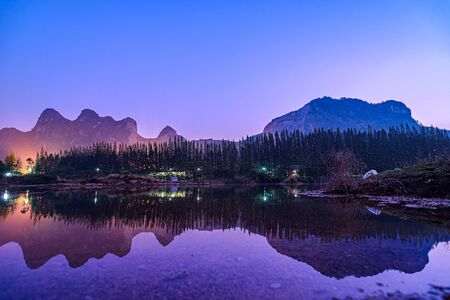 Photo pour Beautiful view of landscape with reflection on lake at Khao e bid or Khao e go at Khao Yoi District, Phetchaburi province, Thailand. - image libre de droit