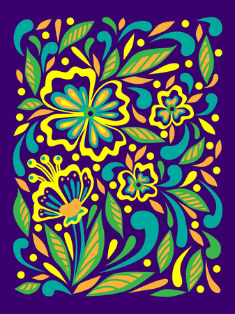 Floral print. Spring and summer decor. Doodle style. Colorful vector pattern. Hand drawn flowers