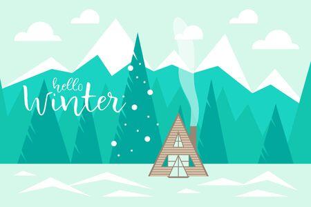 Illustration pour Hello winter Winter landscape with mountains, forest and wooden house. Vector illustration - image libre de droit