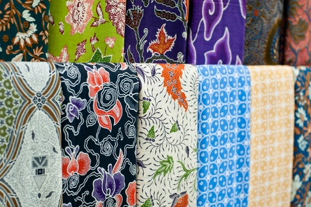 Closeup of colorful batik, Yogyakarta, Central Java, Indonesia