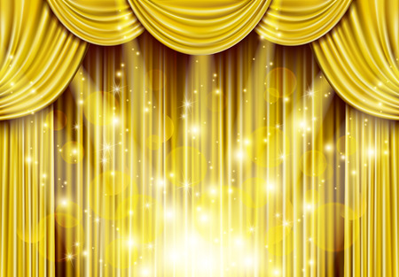 Ilustración de Golden curtain with spotlights - Imagen libre de derechos