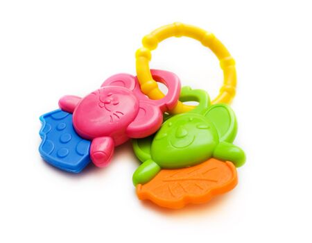 child's rattle on a white background
