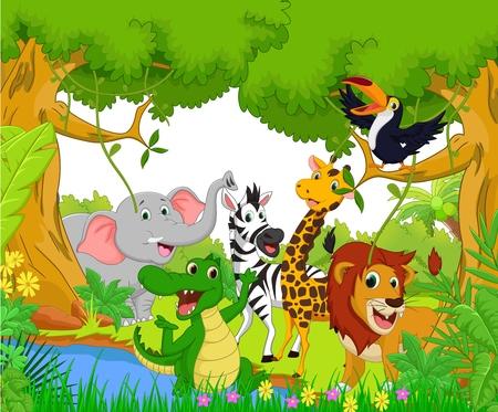 Foto de Animal cartoon in the jungle - Imagen libre de derechos