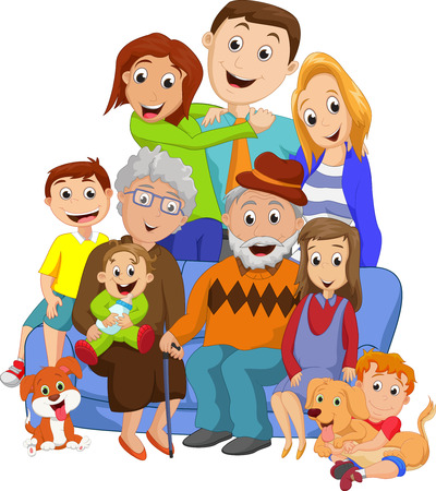 Ilustración de Big family with grandparents - Imagen libre de derechos