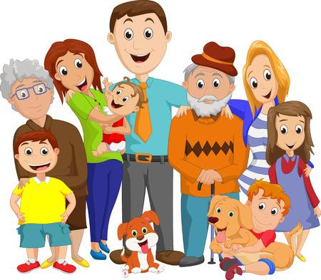 Illustration pour Illustration of a big family portrait - image libre de droit