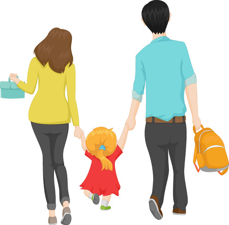 Illustration for young family walking with her little daughter to a new school - Royalty Free Image