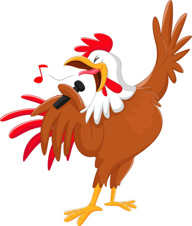 Illustration pour cute cartoon rooster singing a song. isolated on white - image libre de droit