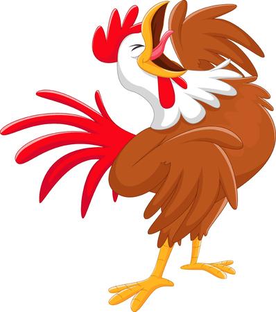 Illustration pour Happy cartoon rooster crowing - image libre de droit