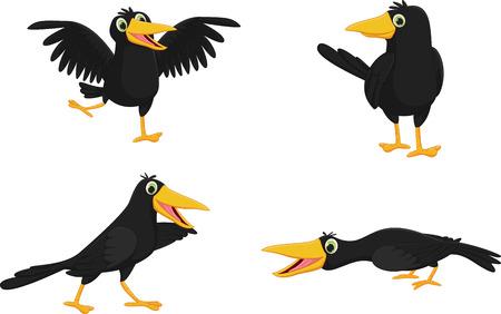 Illustration pour Set of cute cartoon crow - image libre de droit