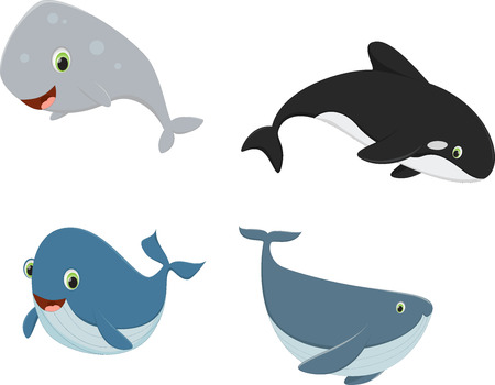 Four cartoon whales
