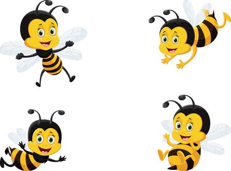 Photo pour vector illustration set of cute cartoon bee - image libre de droit