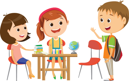Illustration pour cute little school girl waiting for one of her classmates at the desk to studying - image libre de droit