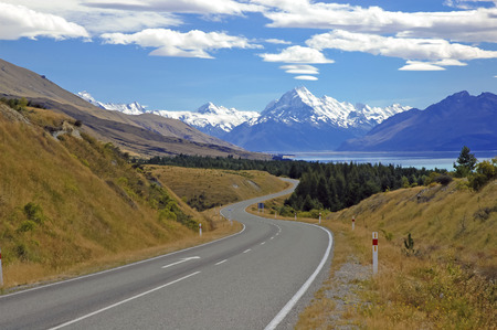 Driving towards Mount Cook New Zealand