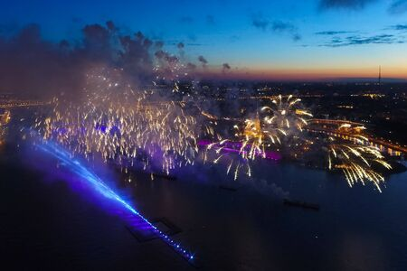 Foto per Salute Scarlet Sails. The festive salute is grandiose. Fireworks pyrotechnics. - Immagine Royalty Free