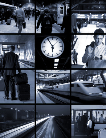 Conceptual image-grid: commuters are travelling hours every day from home to office and return. They leave early morning and arrive home when it is dark.