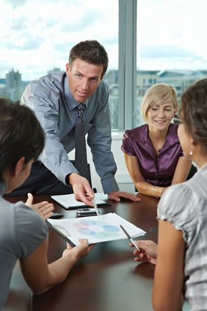 Photo for Group of young business people talking on business meeting at office. - Royalty Free Image