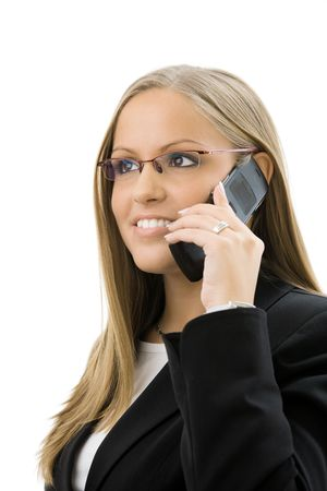Young happy businesswoman calling on mobile phone, isolated on white.