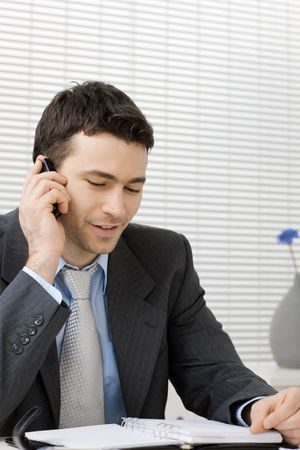 Businessman working at office desk, talking on mobile phone, smiling.