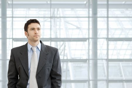 Portrait of businessman wearing grey suit and blue shirt, standing in front of windows in office lobby, looking ahead seriously.