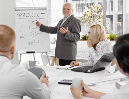 Senior businessman talking to colleagues, explaining project success, pointing at whiteboard, smiling.