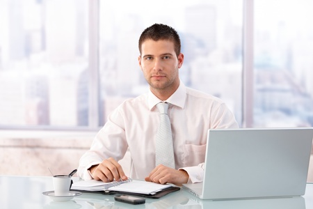 Handsome businessman sitting at desk in bright office, having laptop and organizer.の写真素材