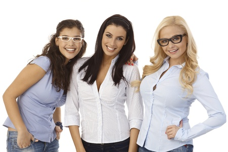 Attractive female friends smiling, wearing glasses.の写真素材