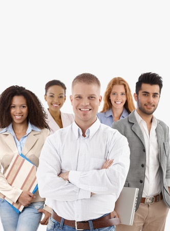 Portrait of successful young businessteam smiling over white background.