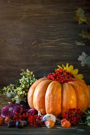 The wooden table decorated with vegetables, pumpkins and autumn leaves. Autumn background. Schastlivy von Thanksgiving Day.
