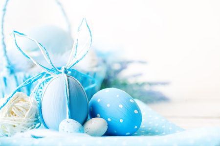 Photo for Happy Easter. Congratulatory easter background. Easter eggs and flowers. - Royalty Free Image