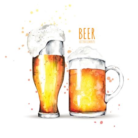 Illustration pour Watercolor elements on the theme of beer. Beer glass, hops, malt. - image libre de droit