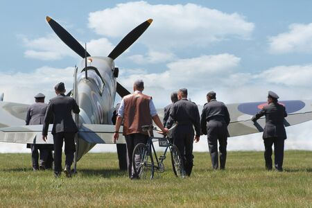 PARDUBICE, CZECH REPUBLIC - 6 June 2015: Supermarine Spitfire aircraf in aviation fair and century air combats, Pardubice, Czech Republic on 6 June 2015