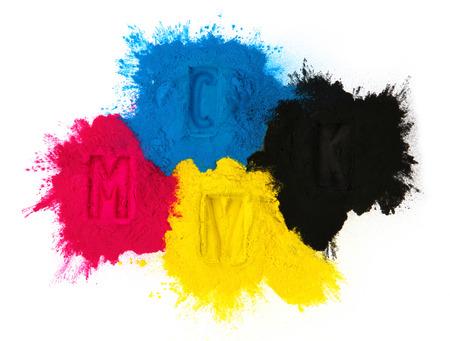 Photo pour Color copier toner cyan magenta yellow, black isolated on white - image libre de droit