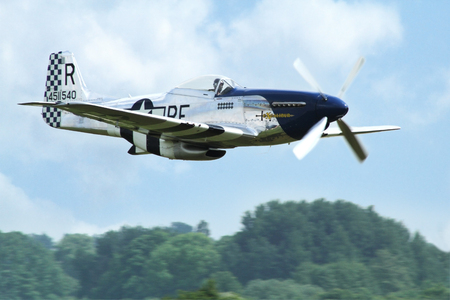 PARDUBICE, CZECH REPUBLIC - 29 May 2016: Aircraft P 51D Mustang aircraf in aviation fair and century air combats, Pardubice, Czech Republic on 29 May 2016