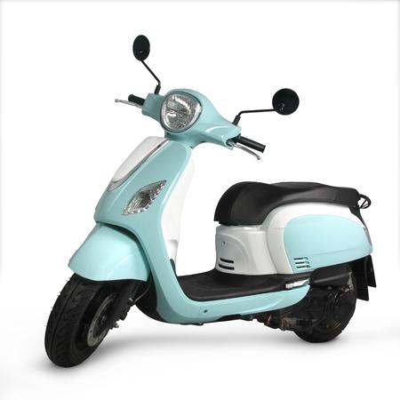 Foto de Blue Scooter with white background - Imagen libre de derechos