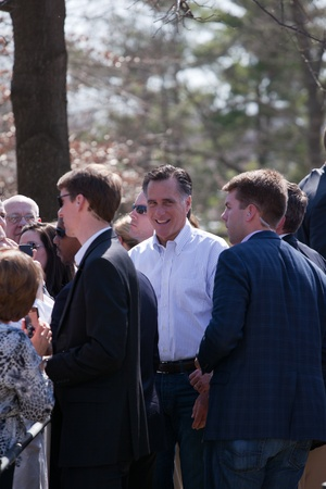 Kirkwood, Mo. 03-13-12 Mitt Romney after a speech in Kirkwood park, surrounded by secret service