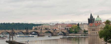 View of Charles Bridge in Czech Zlata Prague