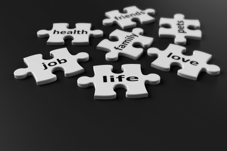 Life is like a puzzle  Life consists of many components, 3d rendering