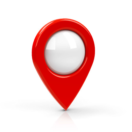 Red map pointer with blank center isolated on white background, three-dimensional rendering