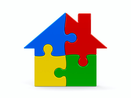 Abstract color puzzle house isolated on a white background, three-dimensional rendering